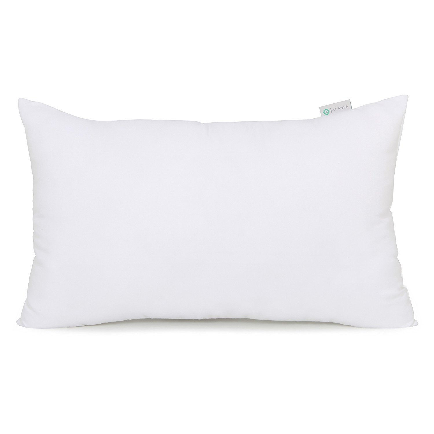 "Image of Acanva Hypoallergenic Pillow Insert Form Cushion Sham, 12"" L x 24"" W, Oblong Rectangle"