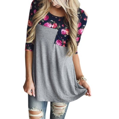 OUMY Women 3/4 Sleeve Splice Floral Printed Tops