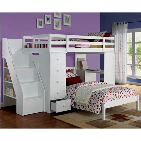 ACME Freya Twin Bed with Mission Headboard in White Solid Wood