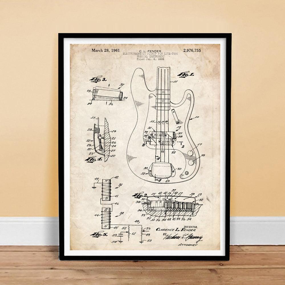 Unframed Art Poster Decor Fender Precision Bass Guitar 1961 Patent Print
