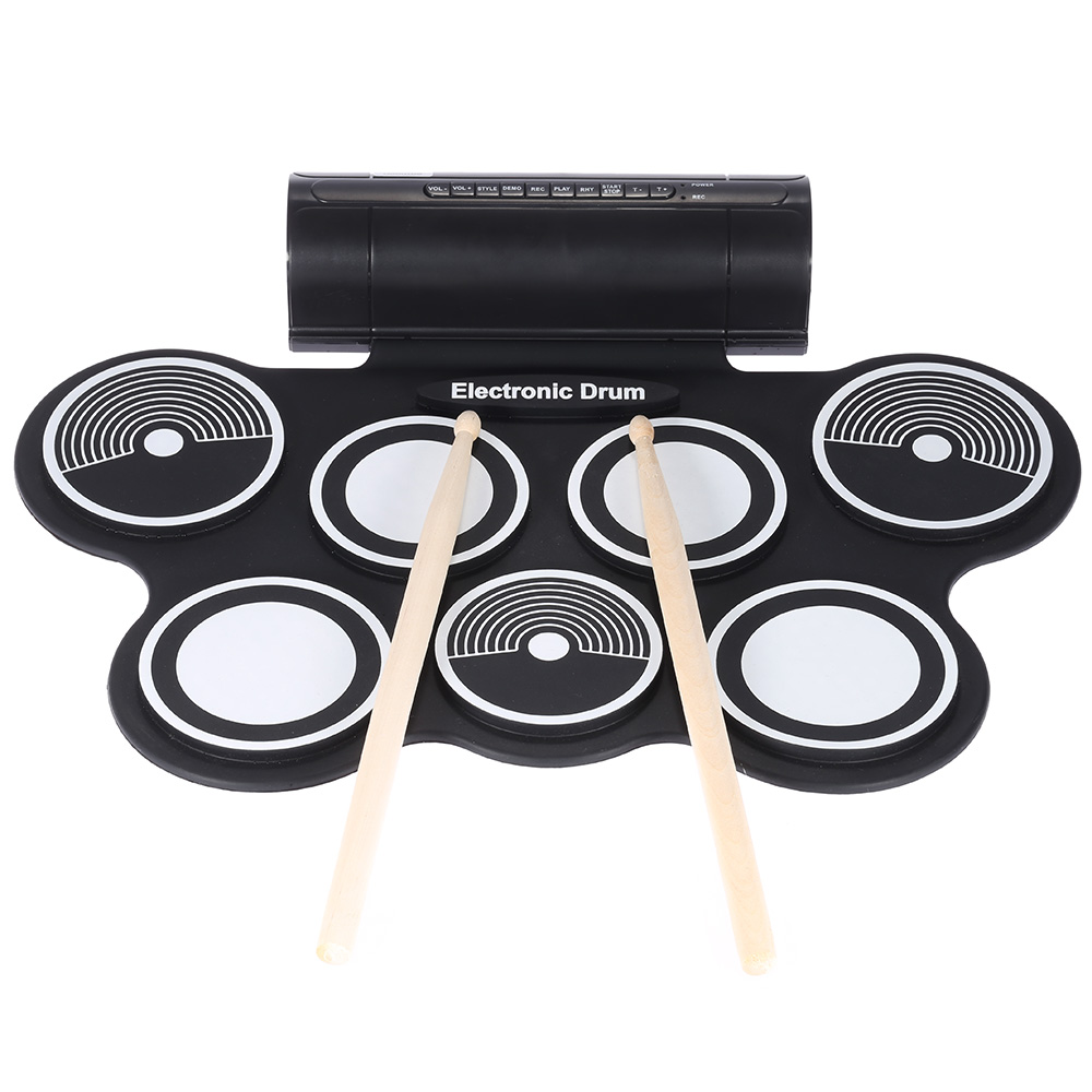Portable Foldable Silicone Electronic Drum Pad Kit Digital USB Roll-up with Drumstick Foot Pedal 3.5mm Audio Cable