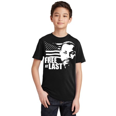 Free At Last Dr Martin Luther King Jr Quote Youth T Shirt Youth Xs