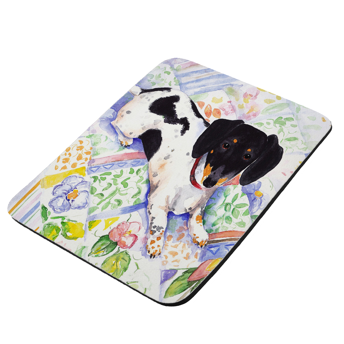 Tricolor Miniature Dachshund Art by Denise Every - KuzmarK Mousepad / Hot Pad / Trivet