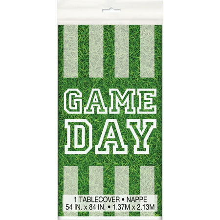 (4 pack) Game Day Football Plastic Tablecloth, 84 x 54 in (Football Tablecloth)