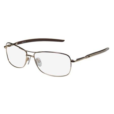 New D&a Dv805 Davis Mens Designer Full-Rim Gold Unique Design Stylish Trendy Frame Demo Lenses 57-14-130 Flexible Hinges (Trendy Eyeglasses For Men)