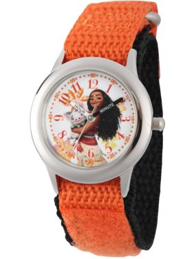 Moana and Pua Girls' Stainless Steel Time Teacher Watch, Orange Hook and Loop Nylon Strap with Black Backing