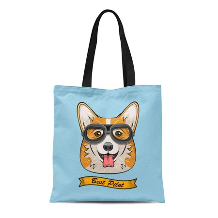 ASHLEIGH Canvas Bag Resuable Tote Grocery Shopping Bags Cute Pilot Corgi Dog Face Traveler Retro Aviator Glasses Best Tote (Best Glasses For Face Shape)