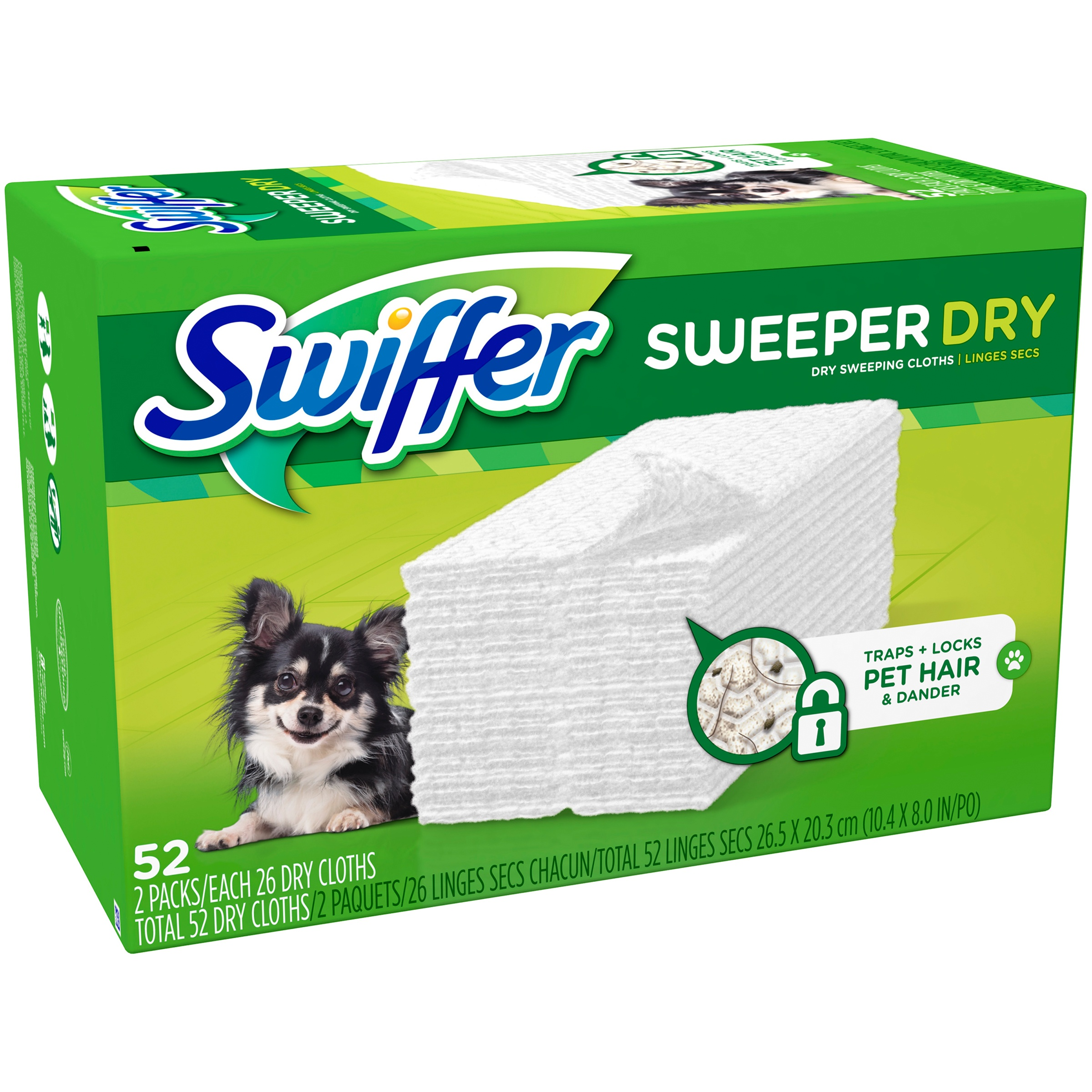 Swiffer Sweeper Dry Sweeping Pad, Pet Multi Surface Refills for Dusters Floor Mop, Unscented 52 Count