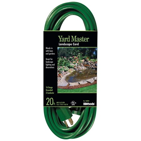 160001 16 3 Sjtw Yard Master Landscape Extension Cord Green 20 Foot