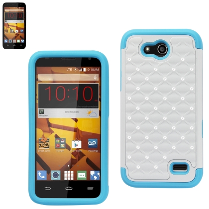 REIKO ZTE SPEED HYBRID HEAVY DUTY JEWELRY DIAMOND CASE IN BLUE WHITE