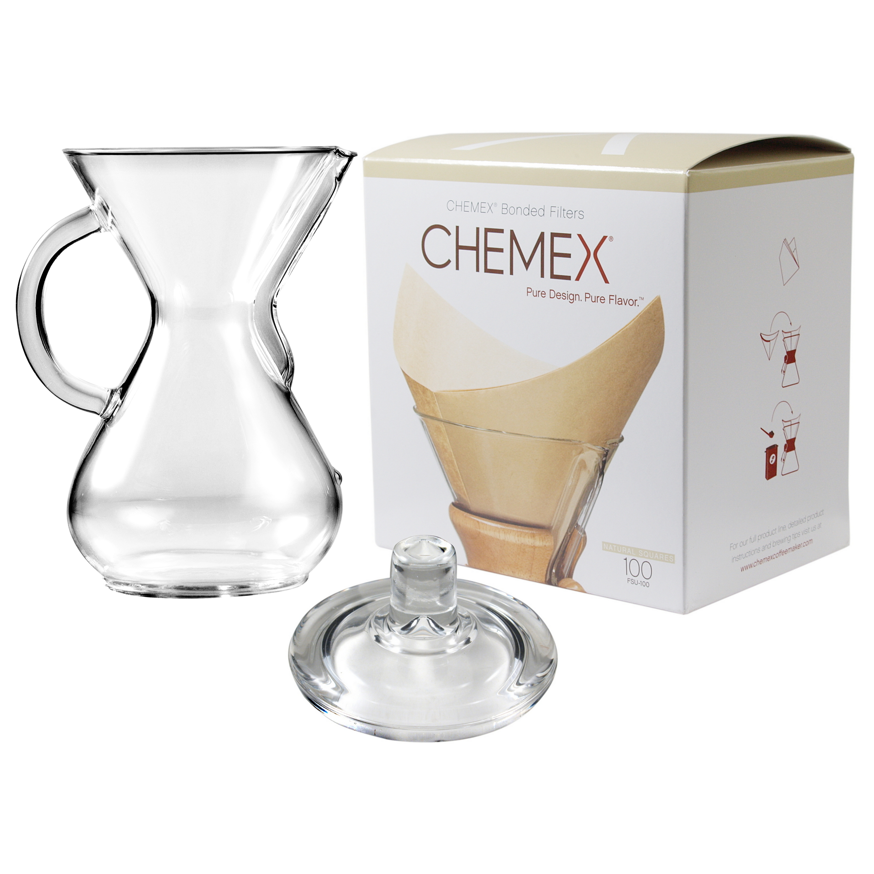 Chemex Glass 30 Ounce Coffee Maker with Cover and 100 Count Bonded Unbleached Pre-Folded Square Coffee Filters