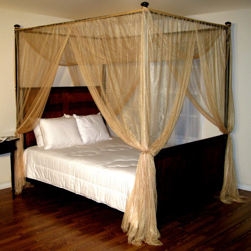 4 Post Bed Curtains palace 4-post bed sheer panel canopy - walmart