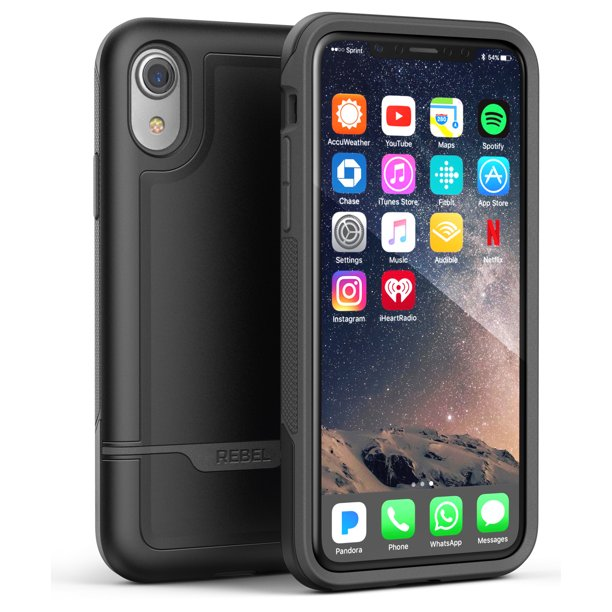 iPhone XR Protective Case, Military Grade Rugged Protection (Rebel) Black