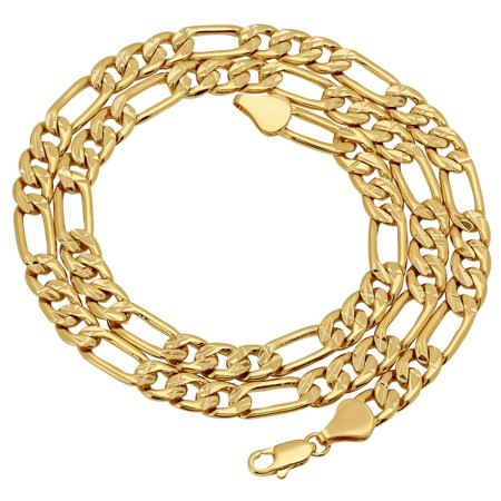- Gold Figaro Plated Chain 7MM Fashion Jewelry Necklaces, 14K Overlay, Resists Tarnishing -24