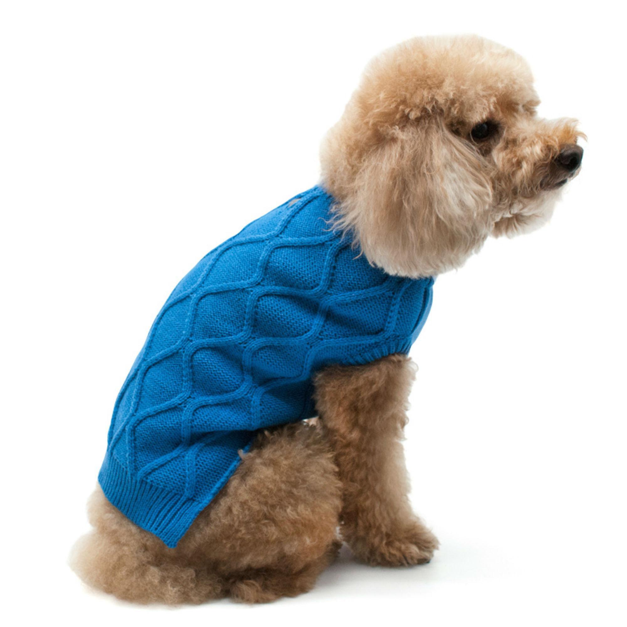 Diamond Knit Dog Sweater By Dogo Blue Large Walmart Com