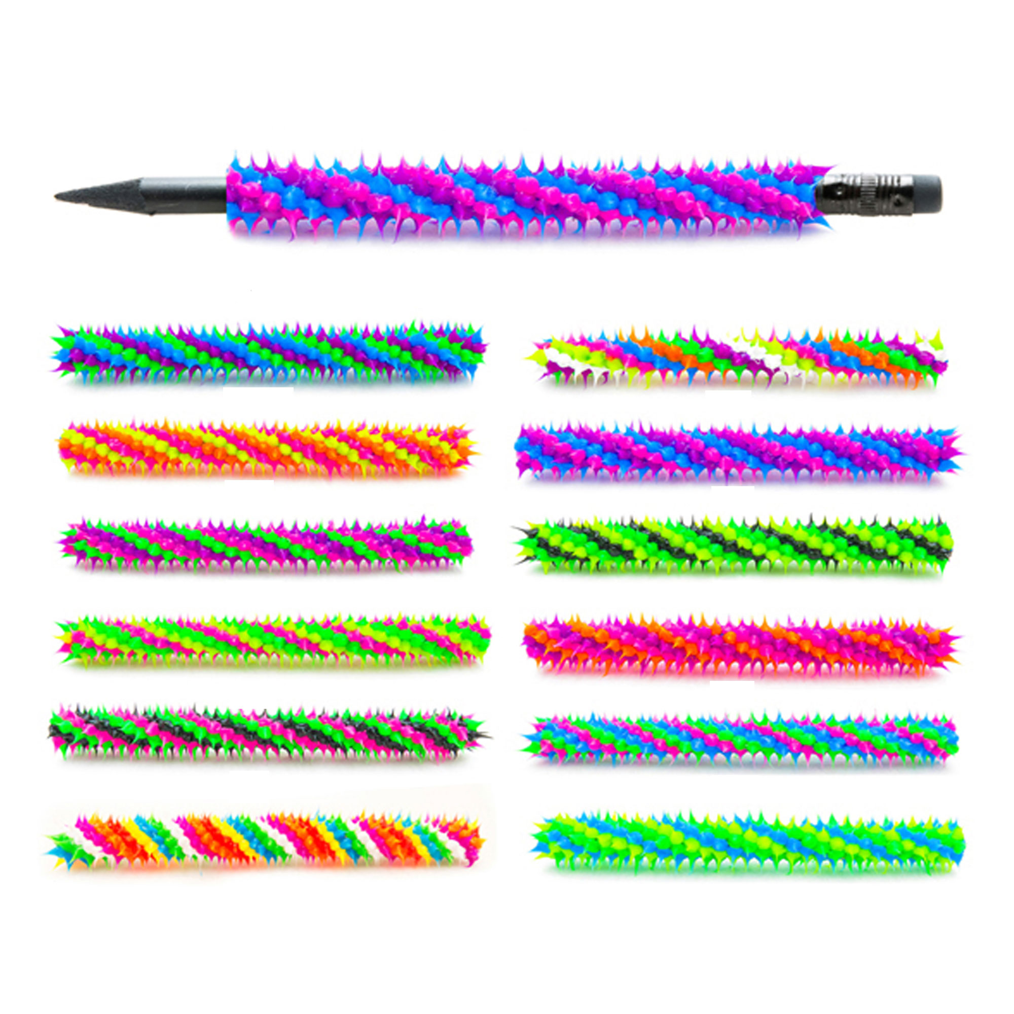 Frogsac 12 Pieces Spiral Spiky Silicone Pencil Jackets - Great Party Favors