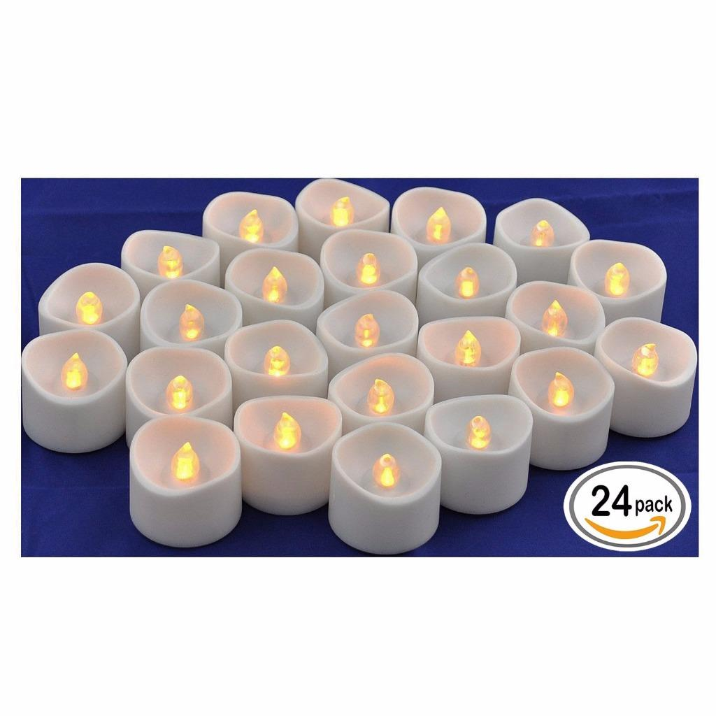 Flameless LED Tea Light Candles, Realistic Flickering Amber Yellow Battery Powered Bulb Tealight | Perfect for Seasonal Décor, Parties, Celebrations and Special Events | Pack of 24 |Instapark®