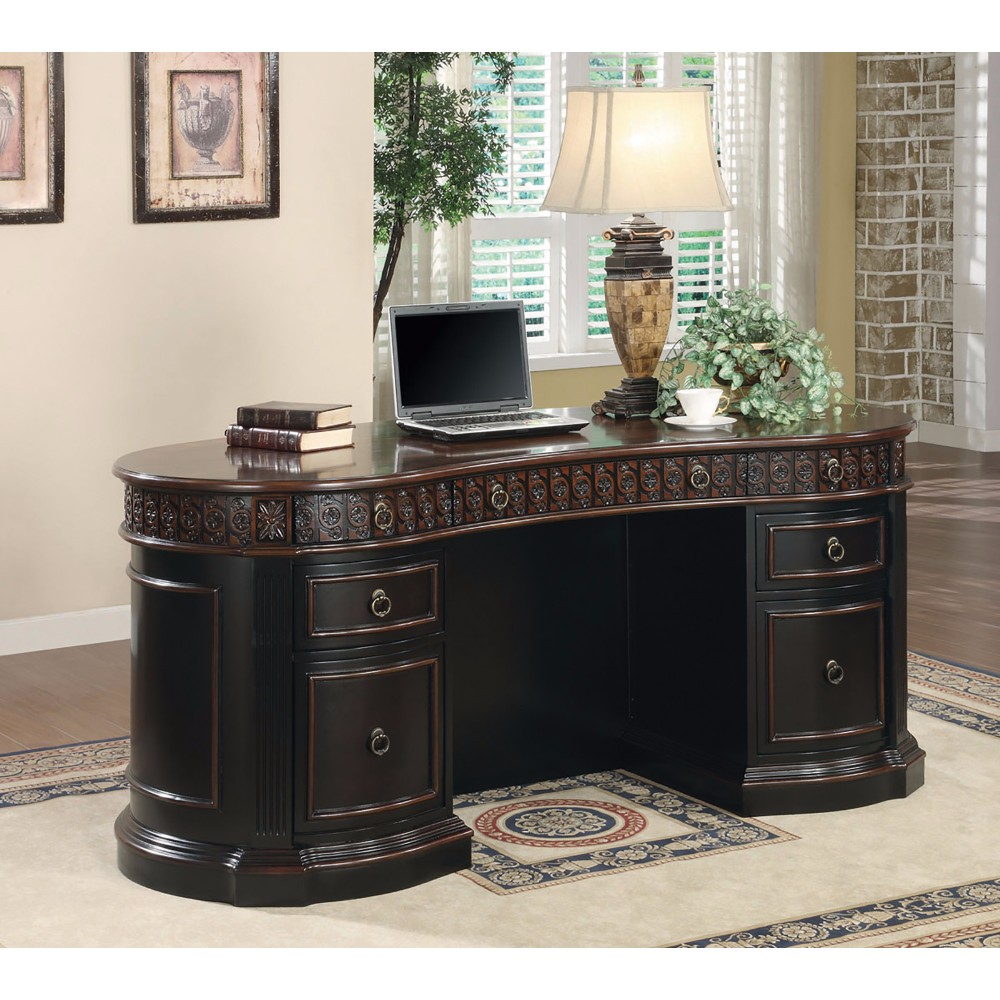 Sturdy Traditional Style Wooden Executive Desk, Brown