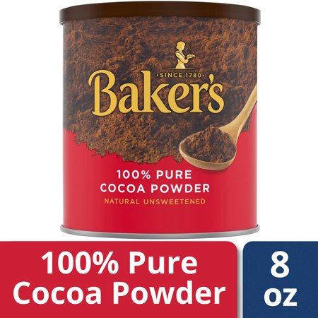 Baker's Cocoa Powder, Natural Unsweetened 100% Pure Cocoa, 8 oz Can (Unsweetened Cocoa)