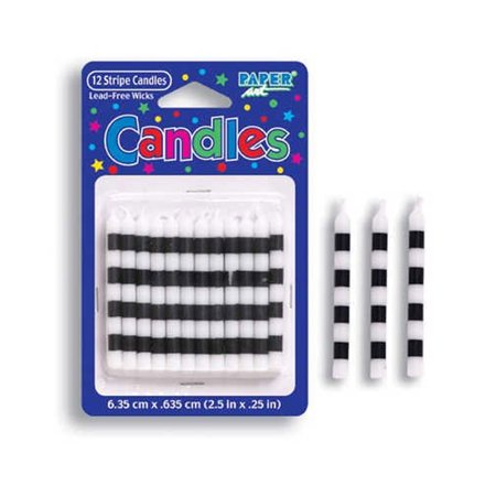 2.25 inch Striped Candle Black/White Check/Case of 72