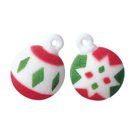Christmas Red, Green, White Ornaments Edible Sugar Decorations - 12 Count - National Cake Supply - Cake Ornaments Decorations