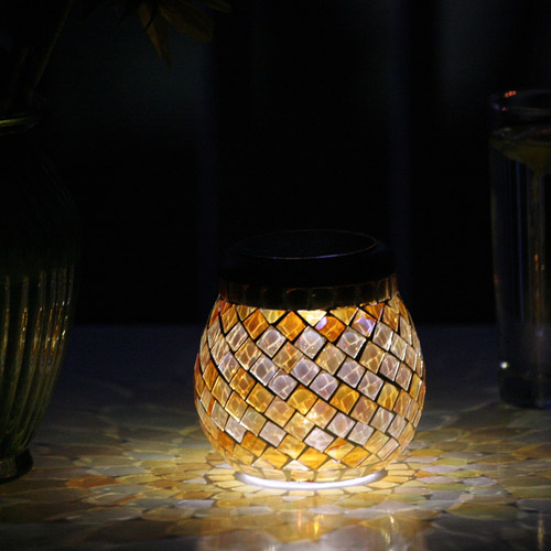 Smart Solar Glass Mosaic Solar T-Light, Pearlesque Amber