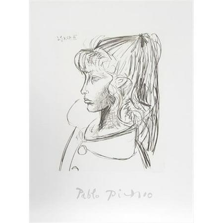 Pablo Picasso 2377 Sylvette De Profil Gouche  44  Lithograph On Paper 29 In  X 22 In    Black  44  White