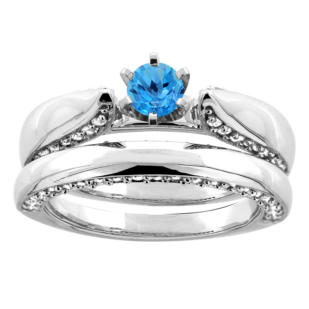 10K White Gold Natural Swiss Blue Topaz 2-piece Bridal Ring Set Diamond Accents Round 5mm, size 10 by Gabriella Gold