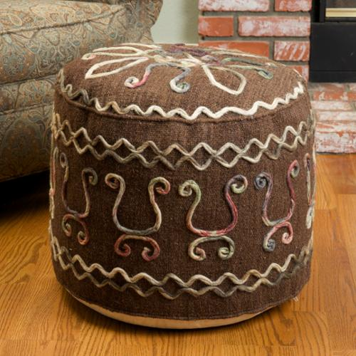 Jethro Brown Wool Embroidered Pouf Ottoman