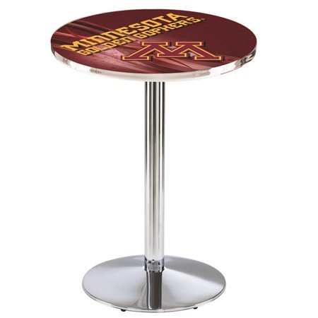 Holland Bar Stool L214C3628MinnUn-D2 36 in. Minnesota Golden Gophers Pub Table with 28 in. Top, Chrome - image 1 of 1