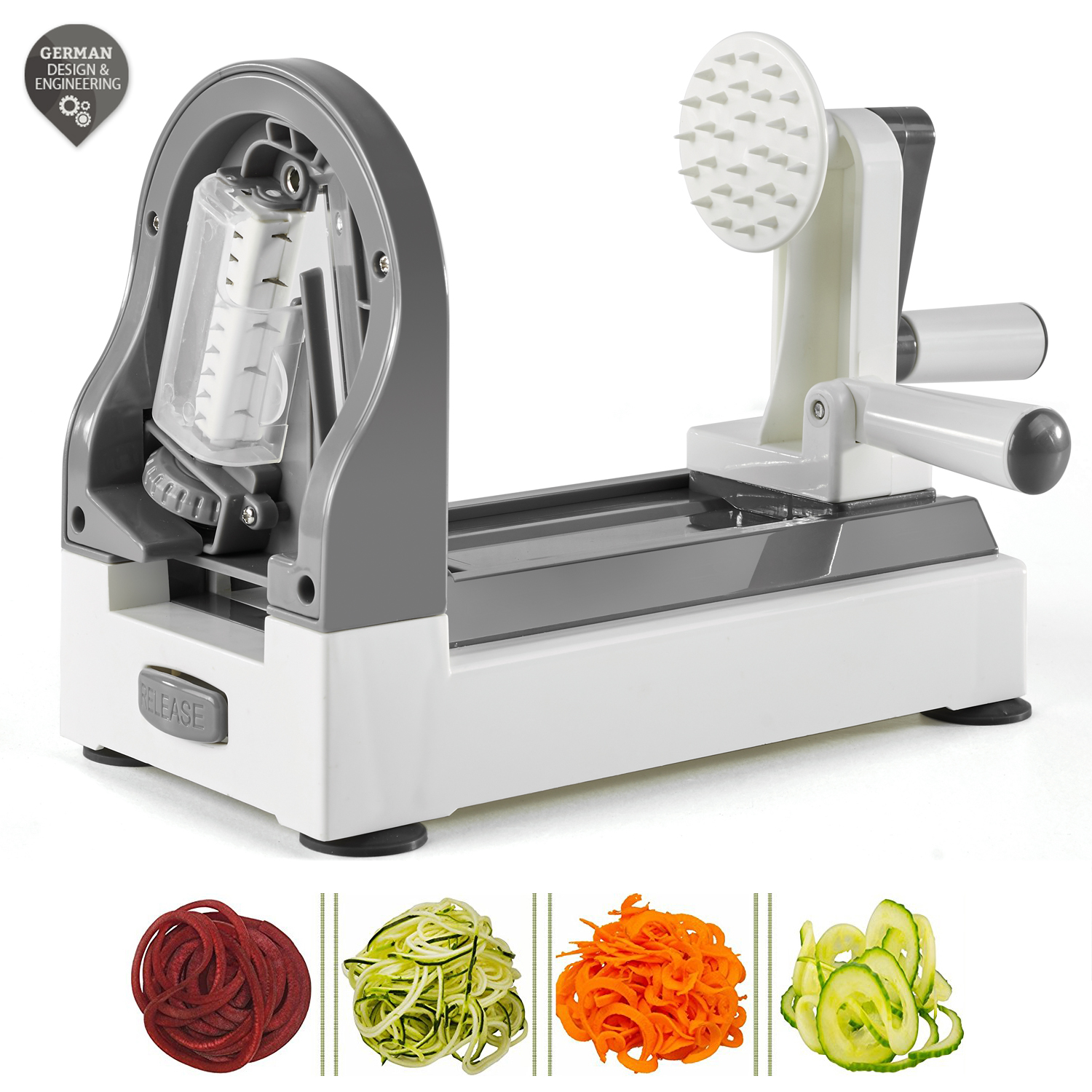 Spiralizer vegetable slicer Adjustable Spiral Slicer, Mandoline Julienne Easy-to-Use Super Heavy duty German Engineered Best Veggie, Fruits, Pasta Spaghetti Maker for Low Carb/Paleo/Gluten-Free Meals