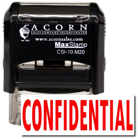 Confidential Ink Stamp - Self-Inking Confidential Stamp with Orange Ink