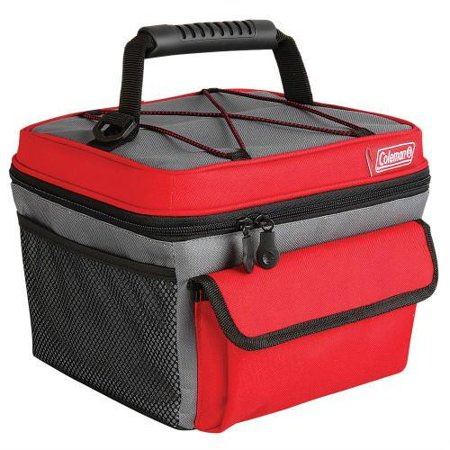 Coleman 10 Can Rugged Lunch Box Cooler Red Gray Rugged