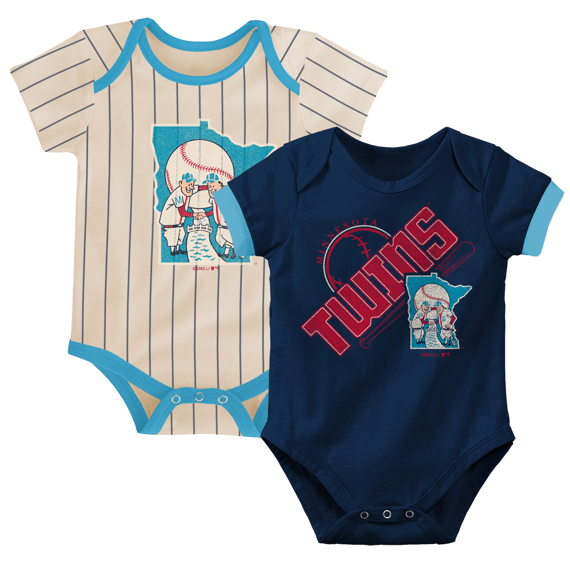 Minnesota Twins Newborn & Infant Cooperstown Collection Groovy Game Two-Pack Bodysuit Set - Navy/Tan