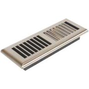 Louvered Plastic Floor Register, 3 In. X 10 In., Satin Nickel