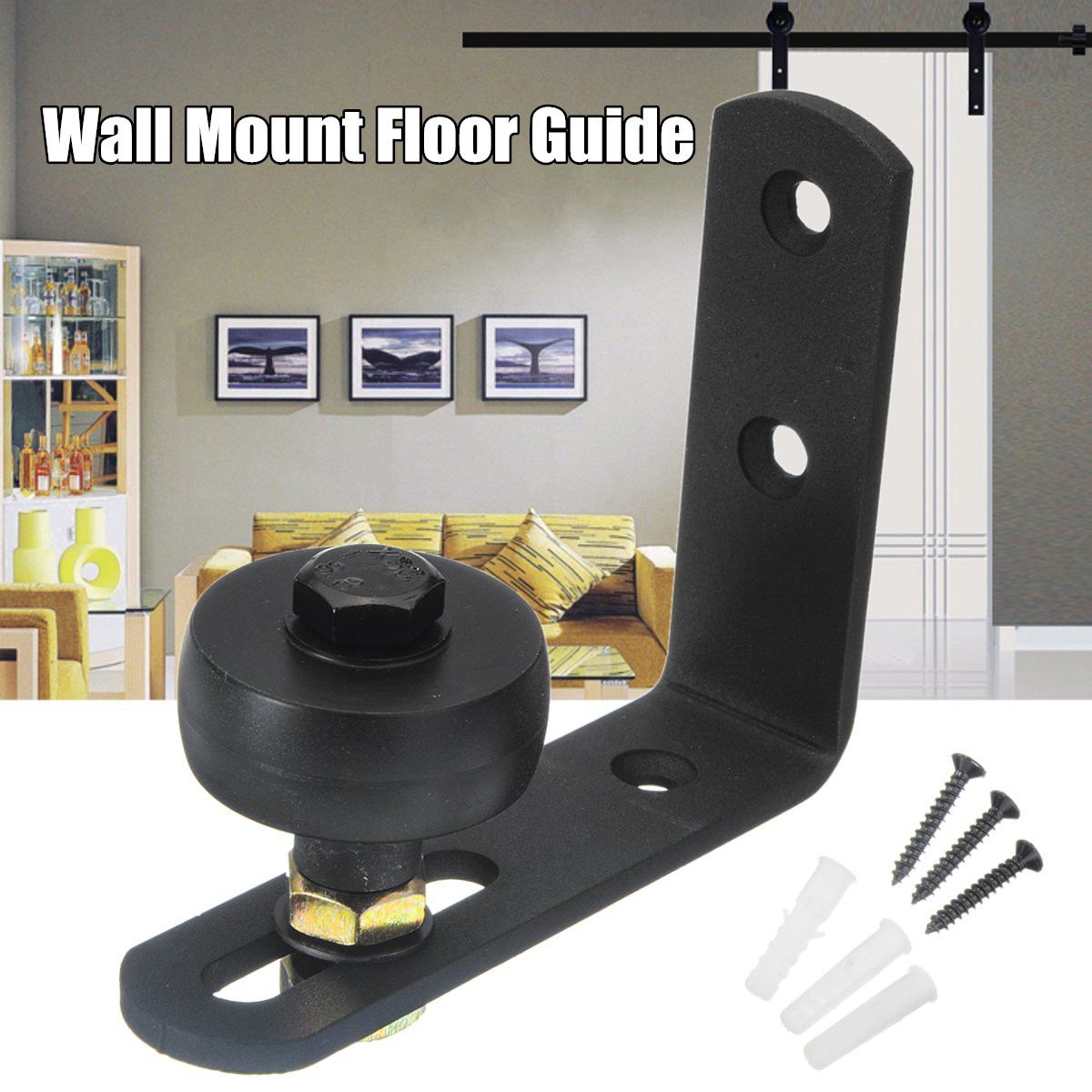 Bottom Floor Guide Stay Rollers Adjustable For Sliding Barn Door Hardware Stay Roller floorguide Kits with Screws