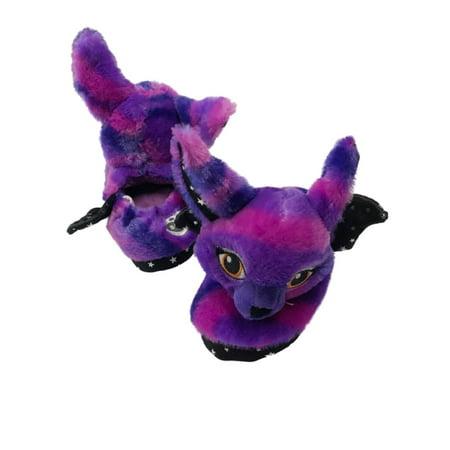 Girls Purple Bat Build A Bear Slippers Sparkle Star Halloween Shoes