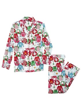 2fe5d71d87a2 Product Image Womens White Christmas Sweater Print Flannel Pajamas Holiday  Sleep Set. Joe Boxer
