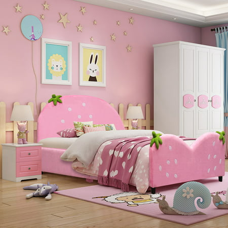 Costway Kids Children Upholstered Platform Toddler Bed Bedroom Furniture Berry Pattern