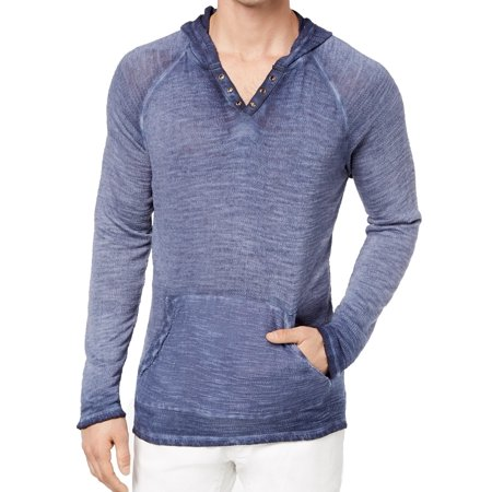 INC Navy Mens Hooded French Terry Knit Grommet Sweater Hooded Terry Sweater