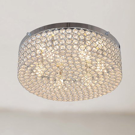The Lighting Store Berta 6-light Chrome Flush Mount Chandelier with Clear Crystals