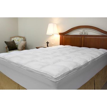 Microfiber Baffled Box Twin/ Full-size Fiber Bed Topper with Skirt Twin