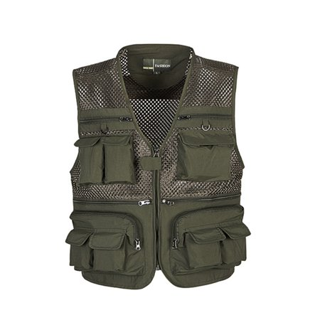 Men's Mesh Breathable Openwork Camouflage Journalist Photographer Fishing Vest Waistcoat Jacket Coat,Army Green, XL Army Delta Mesh Jacket