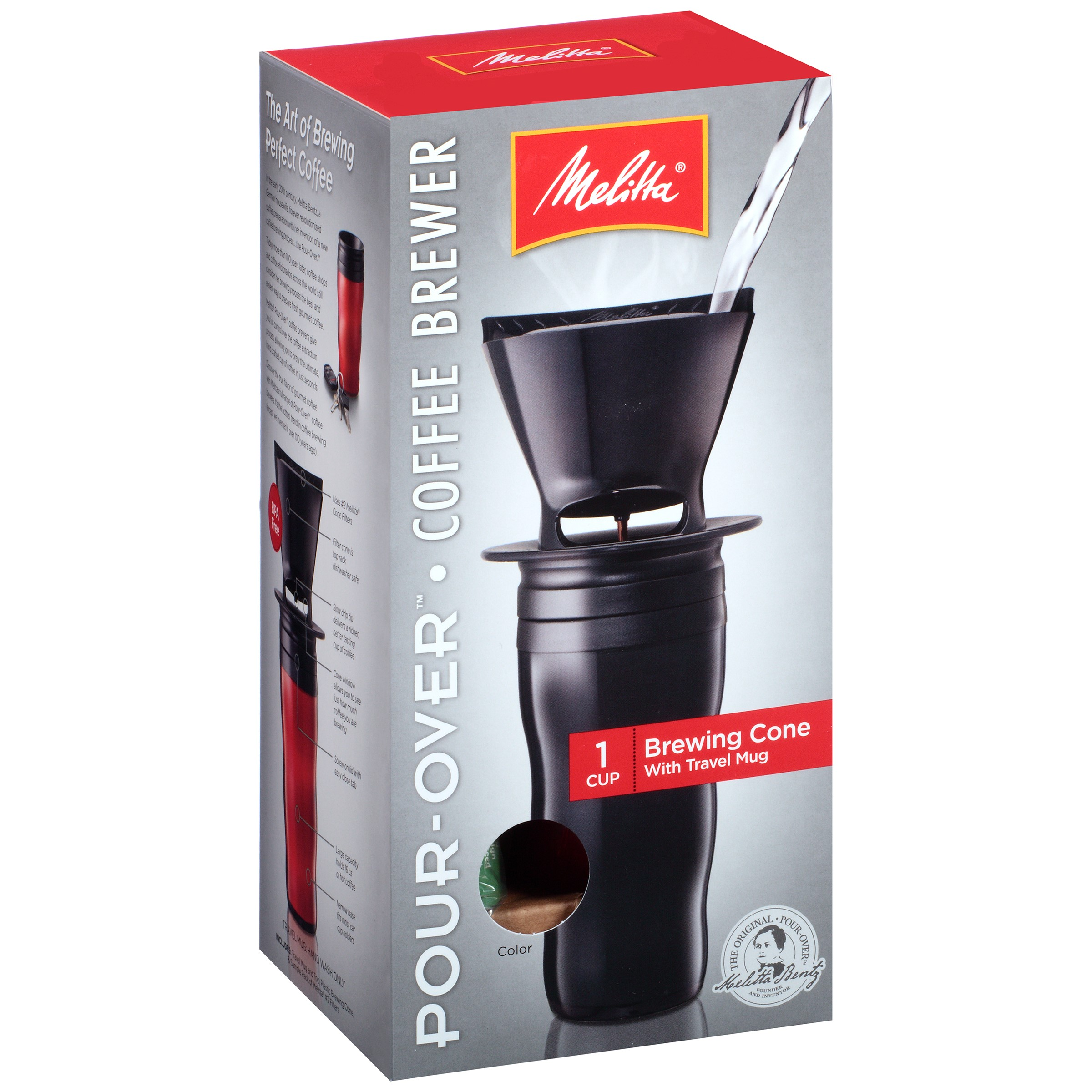 Melitta Pour Over Travel Mug Coffeemaker, Red