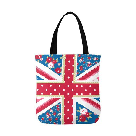 HATIART Cute Union Jack British Flag in Shabby Chic Floral Style Canvas Tote Bags Reusable Shopping Bags Grocery Bags Party Supply Bags for Women Men Kids - image 1 of 3