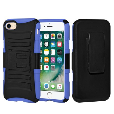 iPhone 7 Case Charging Cable Tempered Glass Combo,Rugged TUFF Hybrid Dual layer Belt Clip Holster Case Shockproof Cover with 3ft.USB Lightining Cable and Screen Guard for iPhone 7,Black/Dark Blue
