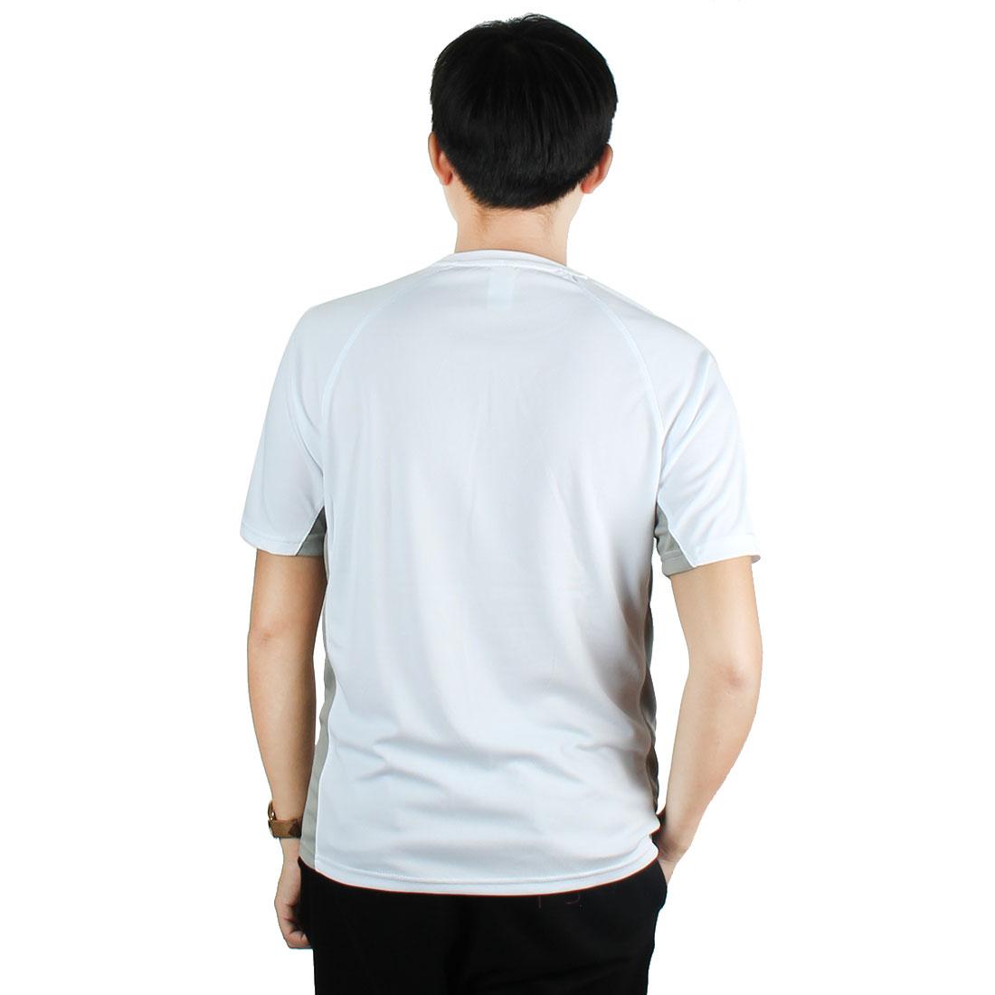 Men Exercise Marathon Polyester Short Sleeve Sports T-shirt White L/L (US 42) - image 2 de 6