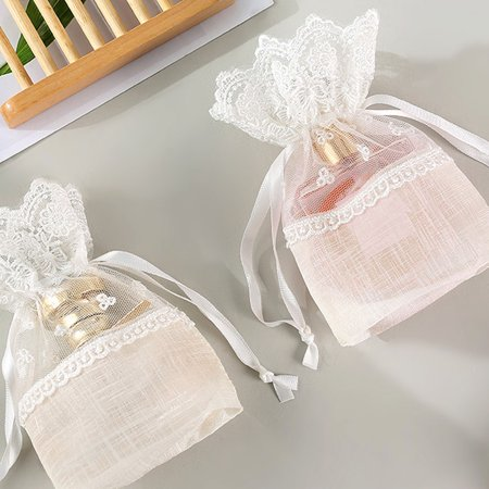 Slub Yarn Drawstring Bag Wedding Favor Bag Jewelry Candy Snacks Storage Pouch Gift Packing Pouch - image 6 of 8