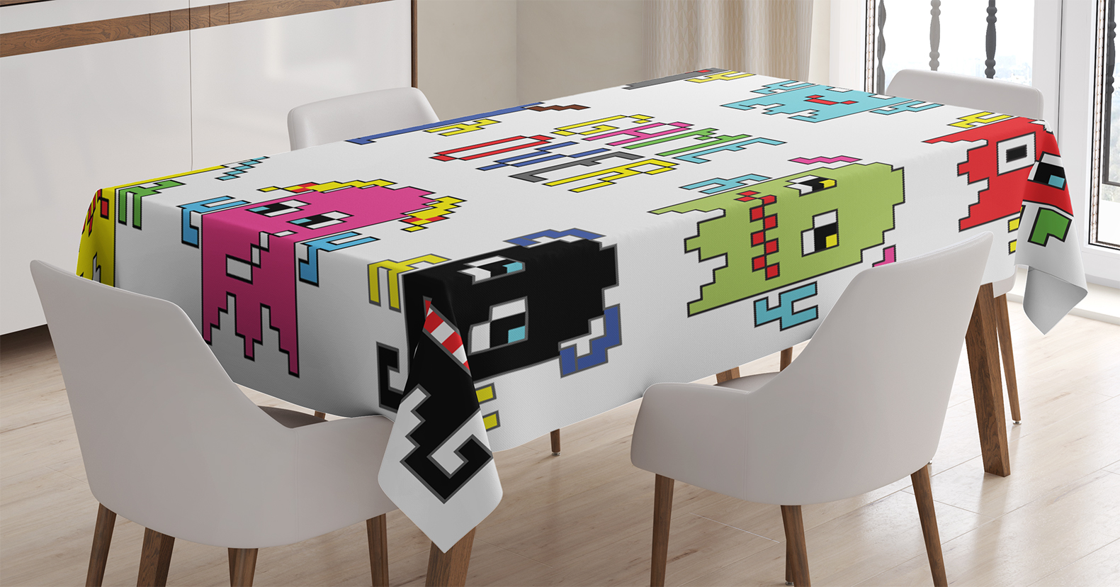 90s Decorations Tablecloth, Pixel Robot Emoticons With Game Over Sign 90u0027s  Computer Games Fun Artprint