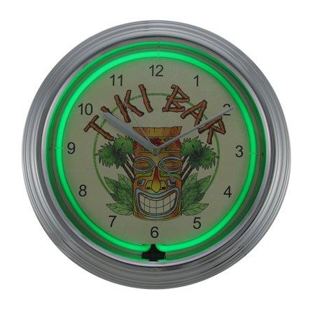Tiki Bar 14 3/4 Inch Diameter Neon Wall Clock Home Bar (Tiki Bar Neon)